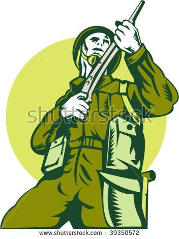 illustration of a world war two british Soldier with rifle  #soldier #woodcut #illustration