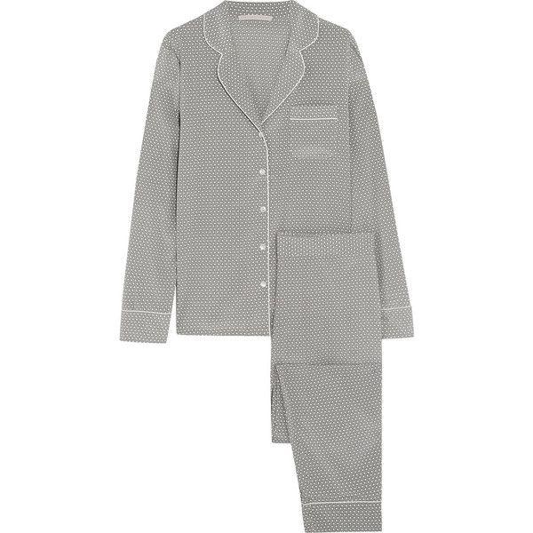 Stella McCartney Poppy Snoozing printed stretch-silk crepe de chine... ($415) ❤ liked on Polyvore featuring intimates, sleepwear, pajamas, light gray and stella mccartney