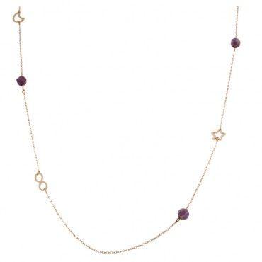 Μοντέρνο γυναικείο κολιέ περιδέραιο ροζ χρυσό Κ14 με αστέρι, άπειρο, φεγγάρι και 3 αμέθυστους | Κοσμήματα ΤΣΑΛΔΑΡΗΣ στο Χαλάνδρι από το 1958 #αστερι #αμεθυστος #χρυσο #κολιε