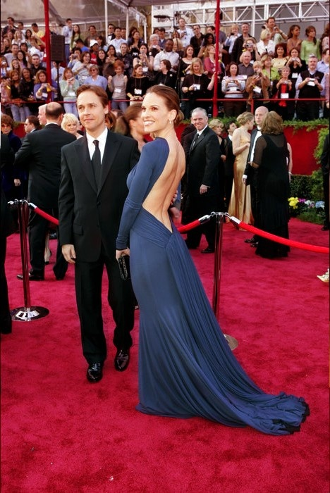 2005 - The Oscars - 77th Academy Awards - Hilary Swank was a knockout in a fully draped Guy Laroche gown with gathered front, deep V-back.