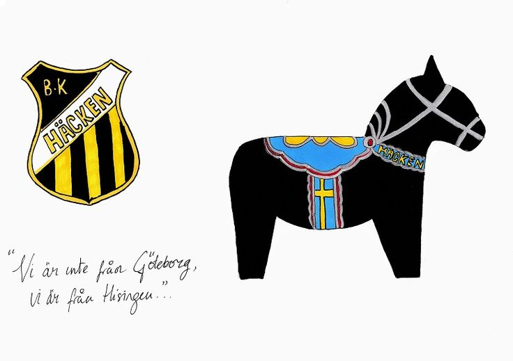 A4 illustration, titled BK Häcken Dalahäst (literally Häcken Football Club Dala Horse). This is part of a series of Allsvenskan (Swedish first division) inspired illustrations, which combine three common recurring elements: a hand-drawn Dala horse (in their respective football team's colours), a hand-drawn version of the team's club crest, and a handwritten verse taken from each team's song). Materials used: promarkers and fine liner pens. #dalahorse #dalahäst #illustration #drawing…
