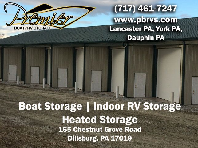www.premierboatrvstorage.com Premier Boat/RV Indoor Storage, located in York PA, offers individual heated storage units, where you control the heat.  To accommodate most Boats and RV's, we designed our indoor storage units with wide bays and extra length. We offer a Five-Star indoor RV and Boat storage facility to protect your valued asset. Serving Lancaster PA, Adams PA, Cumberland PA and Dauphin PA.  Contact us at (717) 461-7247