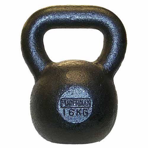 Gill Athletics 16KG PowerMax Kettlebell. Weight: 16 kg (35.3 lbs). Approximate grip: 42 mm (1.7 in). Cast iron construction.
