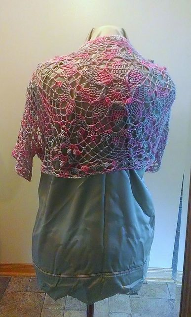 """crochet stardust shrug I made, no pattern, just started with a nice 12"""" square and added sleeves"""