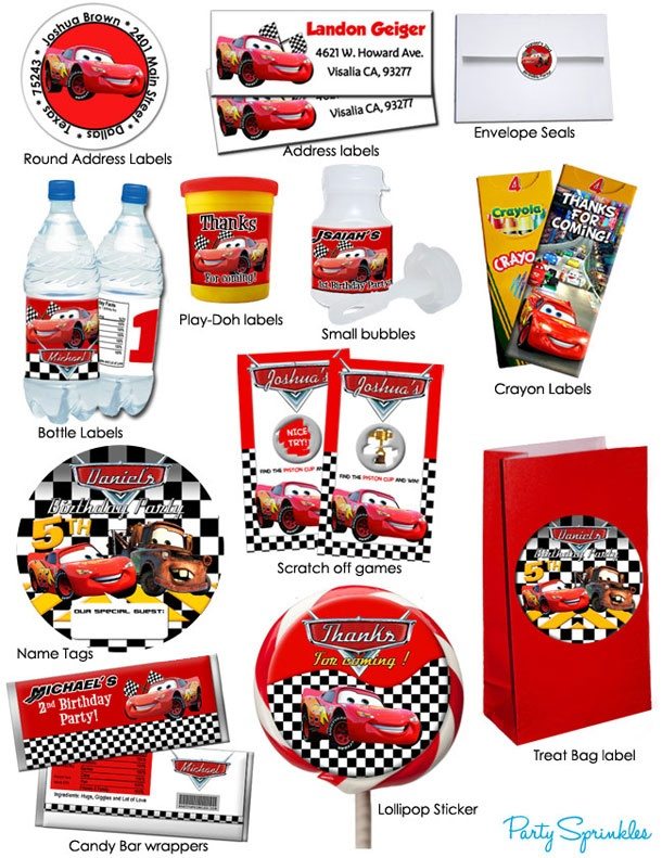 Disney Cars Favors & Labels - You Pick!-Made 2 match party favors and labels for Disney Cars 2