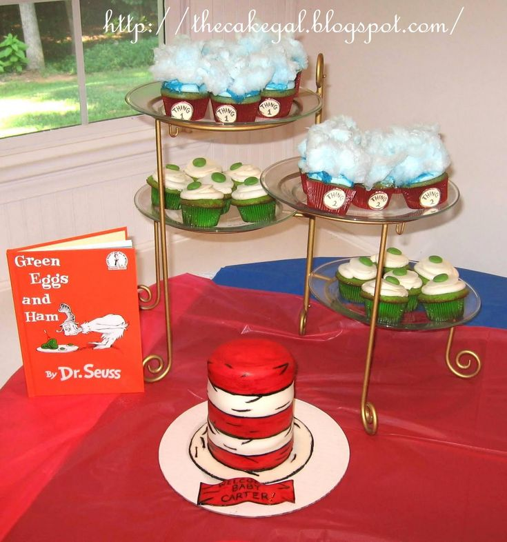 Cakes!: Dr. Seuss cake and themed cupcakes (could make a small hat for smash cake?)