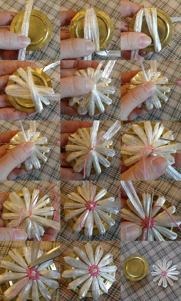 Sunshine's Creations.Vintage Threads Inc.com: How to make straw flowers