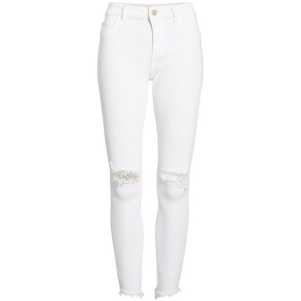 Women's Dl1961 Margaux Instasculpt Ankle Skinny Jeans (€160) ❤ liked on Polyvore featuring jeans, pants, white skinny ankle jeans, white ripped jeans, white jeans, white torn jeans and ankle length skinny jeans