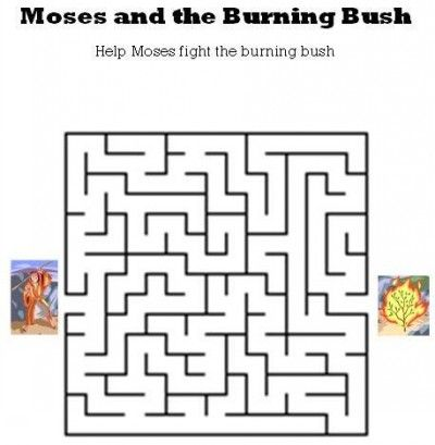 Kids Bible Worksheets-Moses and the Burning Bush Maze