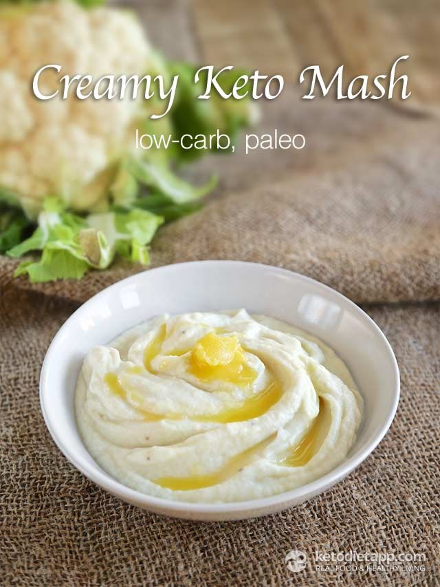 Creamy Keto Mash (roast cauliflower with bacon grease and add heated broth instead of sour cream) love the onions!