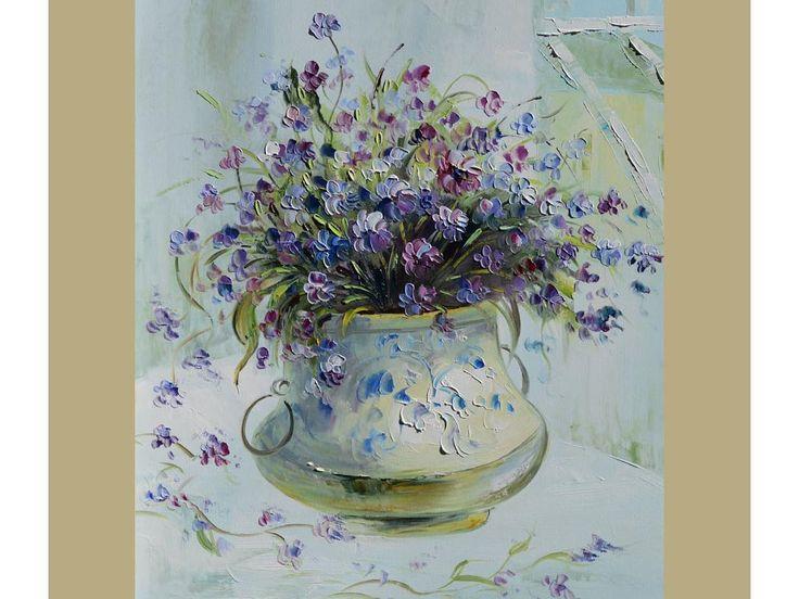 ORIGINAL Oil Painting Romantic 23 X 30 Palette Knife Colorful Flowers Green Vase Purple Romantic Iris ART by Marchella