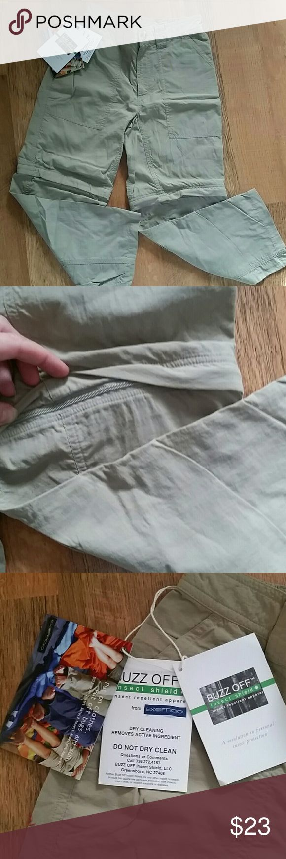 NWT Buzz off pants/shorts Taupe colored pants have Buzz Off repellent in them. 2 pockets front, 2 w velcro in back. Pants zip off into shorts. Button and zip enclosure in front. Thin material. exefficio Bottoms