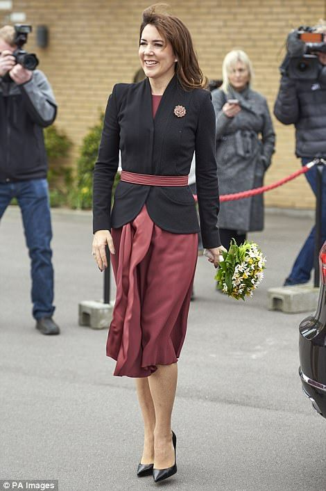 4/20/17*Princess Mary smiled as she entered the Svanevig Hospice in Bandolm on the same day she donned the military uniform