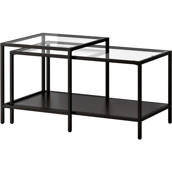 IKEA VITTSJÖ Nesting tables, set of 2, black-brown, glass (€53) via Polyvore featuring home, furniture, tables, accent tables, ikea, table, coffee table, glass accent table, brown coffee table and glass top nesting tables