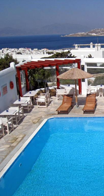 Views from the swimming pool at the Anastasios Sevasti Hotel in Mykonos, Greece