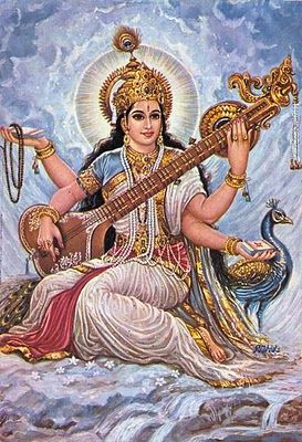 """Saraswati. The divine Hindu Goddess of knowledge, music and the arts. Originally worshiped as the personification of the River Saraswati in northern India, she represented, of course fertility, abundance, and the life-giving flow of water, hence her name, which means """"She who flows."""""""