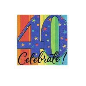 """40"" Ultra Beverage Napkins (A Year to Celebrate) 16/pkg"