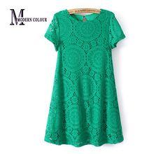 Estilo de verano europeo, nueva moda 2015, vestidos, moda casual, vestido talla plus de encaje con falda corte A, blanco/negro/verde/rojo 1118(China (Mainland))