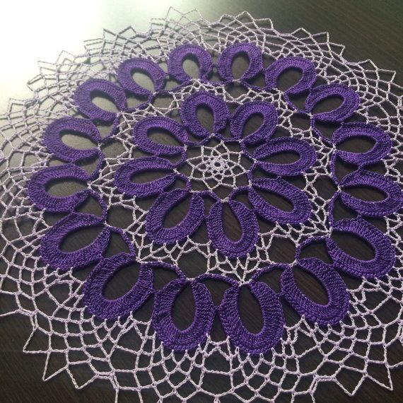 Violet  Handmade Crochet Lace Doily/Wall by ZiNaCrochet on Etsy