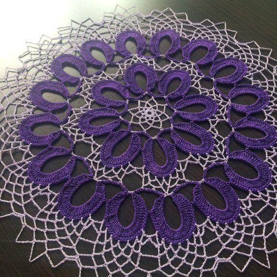 Violet  Handmade Crochet Lace Doily/Wall by ZiNaCrochet on Etsy