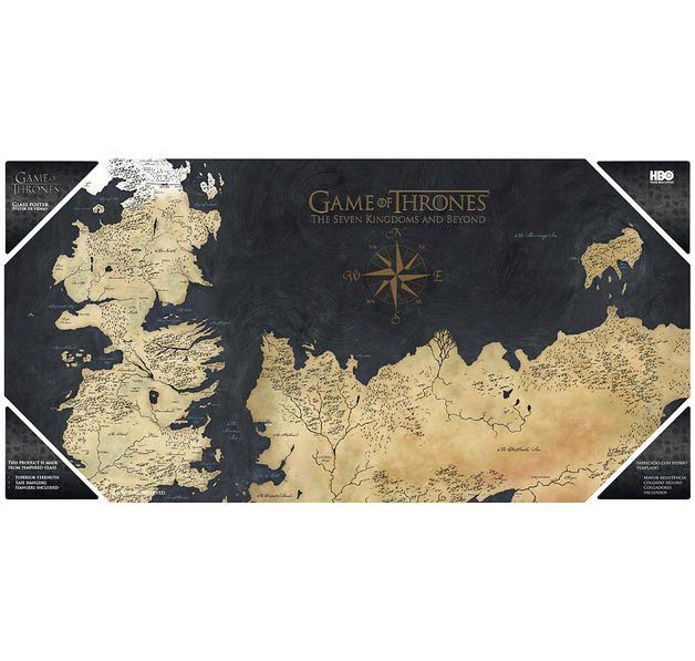 Game of Thrones Glas-Poster Karte von Westeros. Hier bei www.closeup.de
