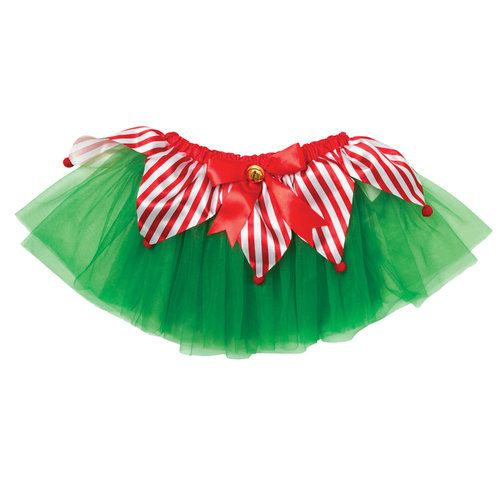 Look as cute as a little elf in this bright tutu. Layers of green tulle are topped with red and white striped triangular panels with red poms. A red bow with a gold sleigh bell adorns the waist band.