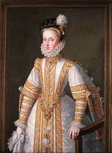Anne of Austria, Queen of Spain by Sanchez Coello, 1571 Museo Lazaro-Galdiano, Madrid.