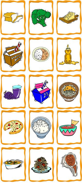 Content        bread, broccoli, cheese, chocolate milk, curry, honey, juice, milk, noodles, pizza, rice, salsa, soup, spaghetti, steak