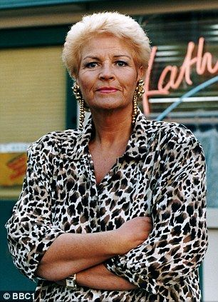 Pam St Clement as Pat Butcher in EastEnders, working the leopard print and giant earring look