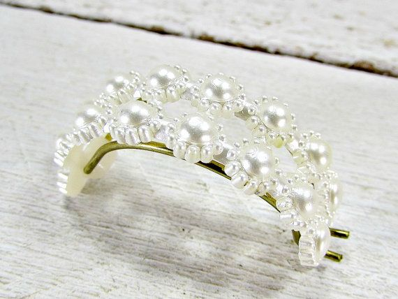 Vintage Pony-Tail Holder, Pony-Tail Cuff, Pony-Tail Clip, Pearl Flower Hair Clip, Hair Clip Barrette, 1950s 50s Rockabilly Hair Accessory by RedGarnetVintage