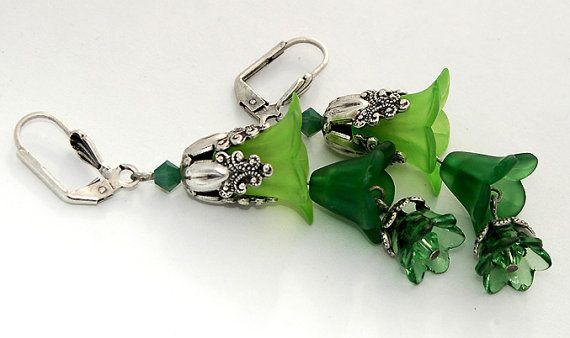 3 SIZES FLOWERS...........................Green Flower Earrings Frosted Floral by shalayneoriginals on Etsy, $33.99