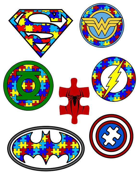 Autism Awareness Puzzle Pieces Superhero Logos Svg Pdf Png And Dxf Files Autism Awareness Autism Tattoos Autism
