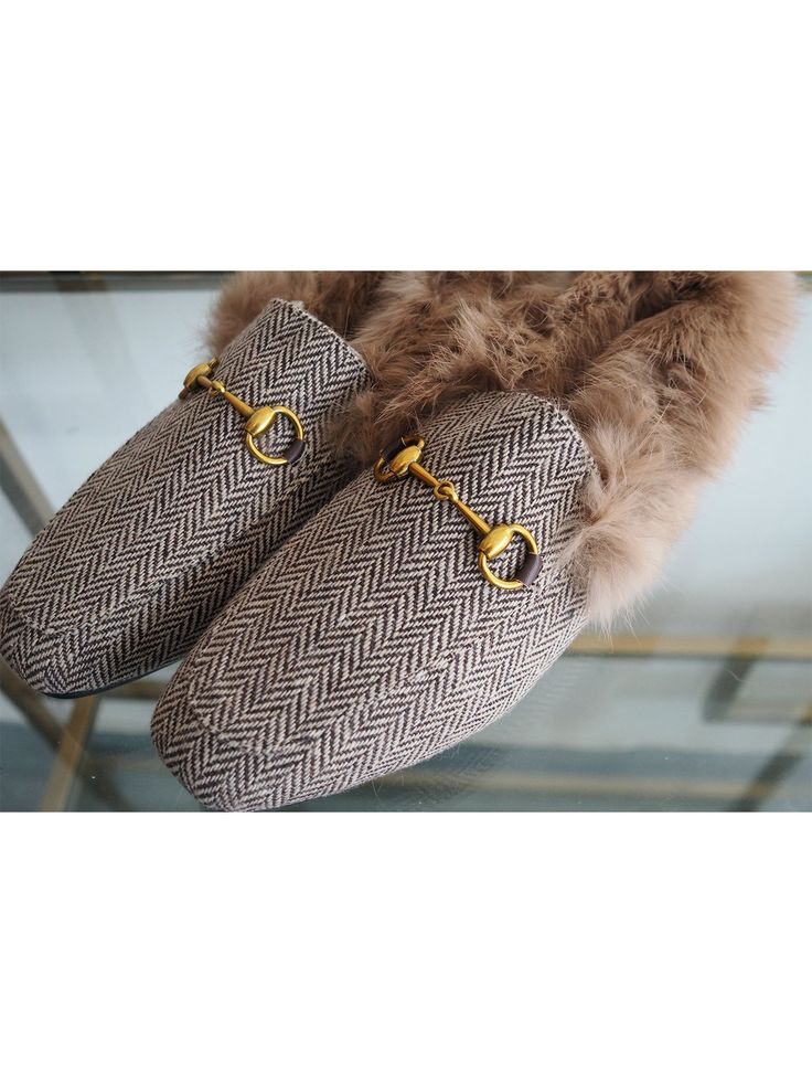 'Lorene' Chevron Faux Fur Loafers