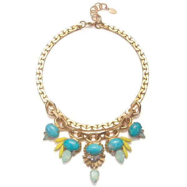 Elizabeth Cole Jewelry Turquoise & Yellow Statement Necklace (1.040 BRL) ❤ liked on Polyvore featuring jewelry, necklaces, collane, blue turquoise necklace, yellow jewelry, turquoise blue statement necklace, swarovski crystal necklace and vintage turquoise necklace