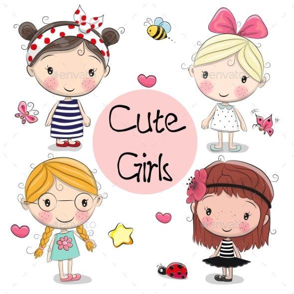 Four Girls On A White Background Cute Cartoon Girl Cute Cartoon