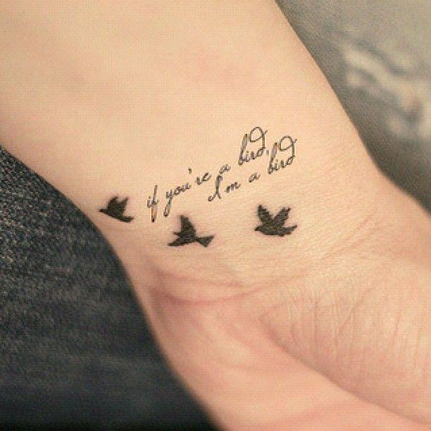 If you're a bird I'm a bird #tattoo #tatto #bird #hand #instacool #insta #black - @Dan Perea- #webstagram