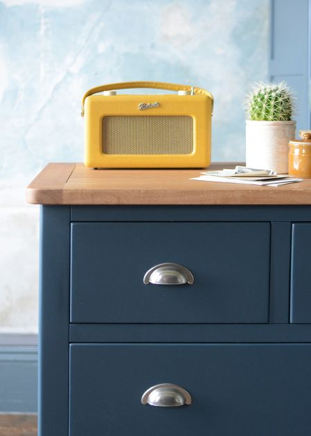 Westcote Blue Chest of Drawers from The Cotswold Company roberts-yello-radio-retro-style-blue-furniture-cup-handles-rustic-plaster-cacti