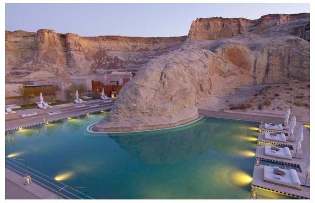 Amangiri resort pool, Canyon Point, Utah The Amangiri pool is part of a resort cut into a protected valley in Canyon Point, Southern Utah, close to the border with Arizona.