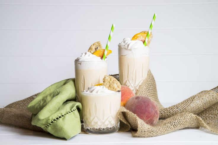 peach-milkshake with cinnamon whipped cream