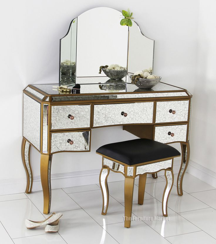 Awesome Gold Vanity Table Part - 10: #Antique #Venetian #Mirrored Dressing Table Set With Curved Mirror