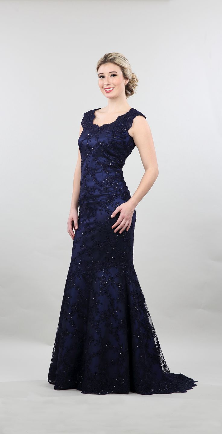 Lorellana # 2109 Exquisite evening gown, sequins lace embellished floor length.