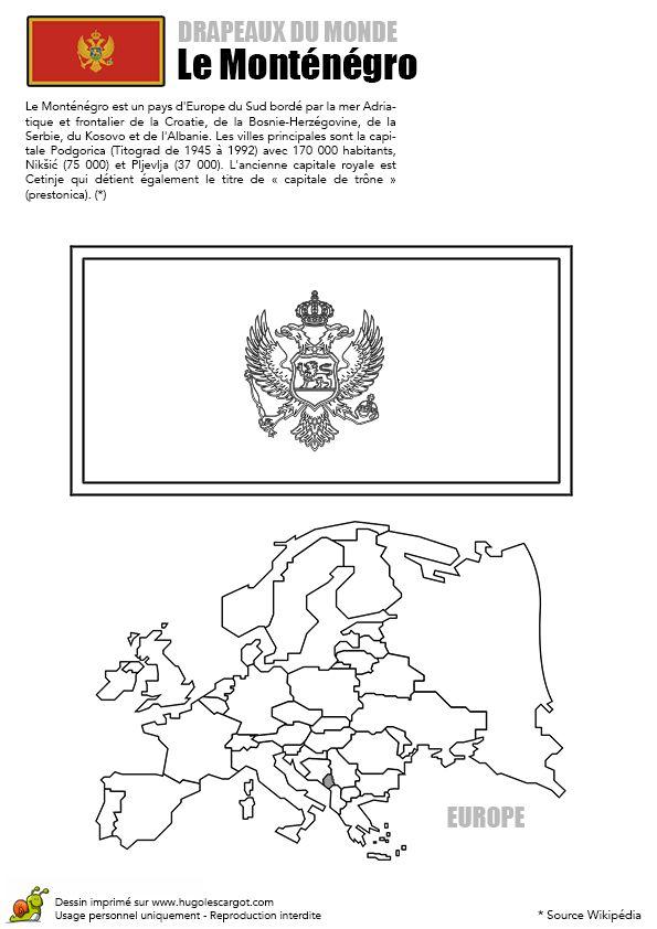 Coloriage du drapeau de Monténégro et de la carte de l'Europe