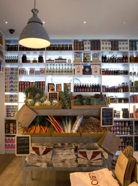 shelves of neatly displayed goods and treats look irresistible at Albion in London