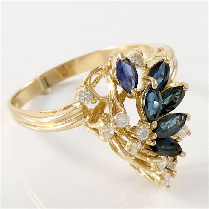 Online veilinghuis Catawiki: Geelgouden ring bezet met diamanten en blauwe saffieren