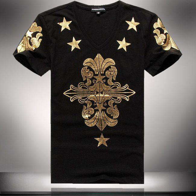 Gold Graphic Print Mens T Shirts 2014 Summer Fashion Tops