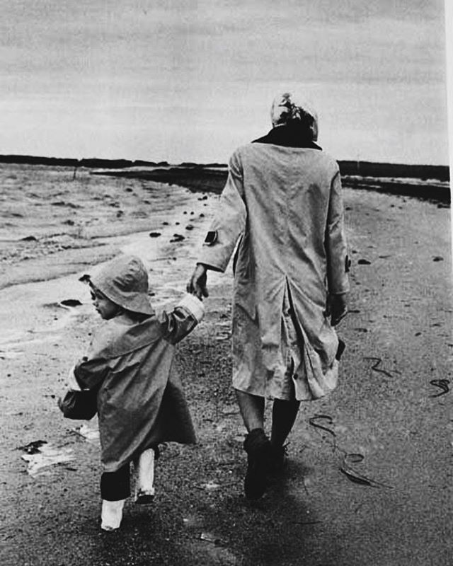 """Oh to live by the sea is my only wish."" ~ Jacqueline Kennedy, photographed here on the beach in Hyannis Port with Caroline."