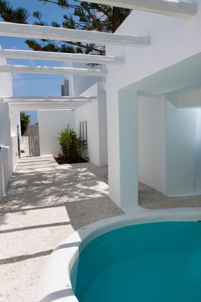 Swimming pool area in Kapetan Tasos Suites. Pollonia - Milos Island - Cyclades _Greece