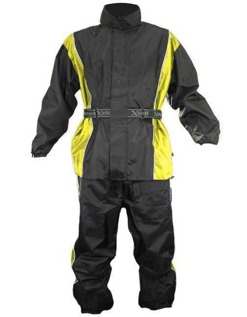 Xelement RN4782 Men's 2 Piece Black Yellow Nylon Motorcycle Rain Suit leg straps #Xelement #Motorcycle