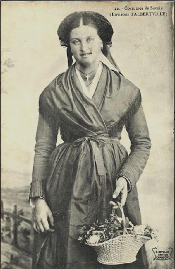 Carte postale ancienne de Savoie - costume des environs d'Albertville