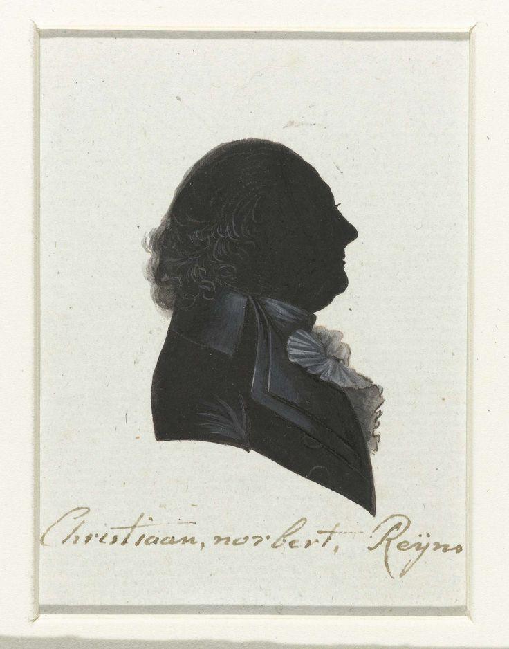 anoniem | Christiaan Norbert Reijns, possibly Hausdorff, 1796 | Silhouet van borstbeeld in profiel naar rechts. Kort haar aan de onderzijde opgekruld. Jabot. Opschrift; o.: Christiaan Norbert Reijns.
